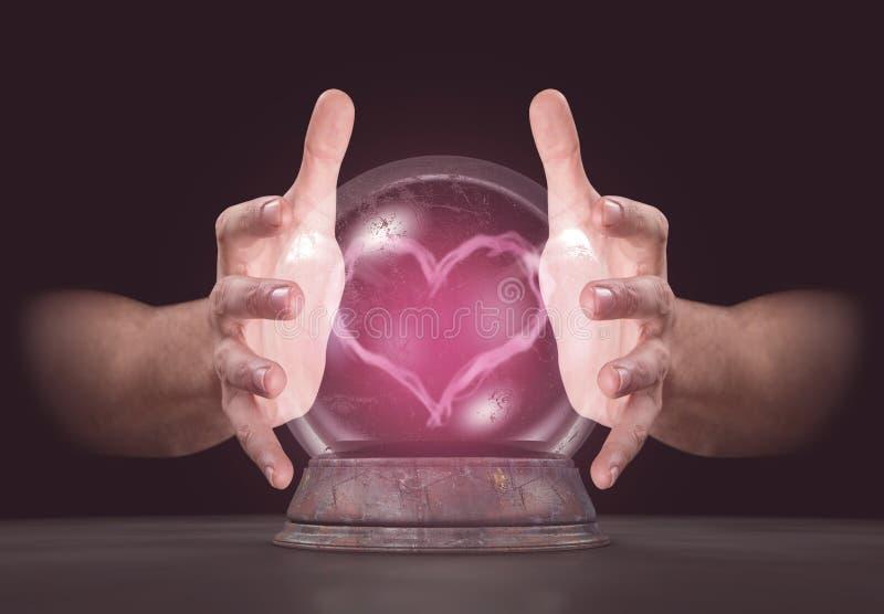 Hände auf Crystal Ball vektor abbildung