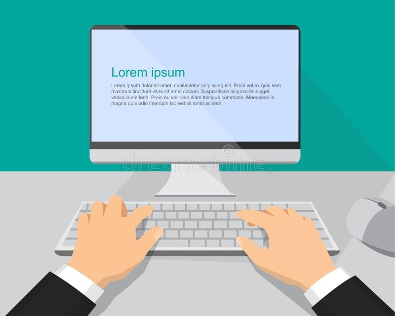 Hände auf dem Tastatur- und Computermonitor stock abbildung