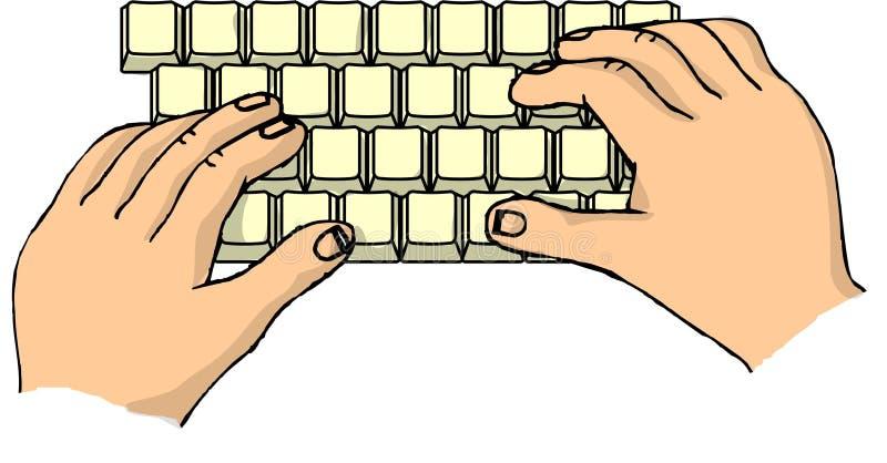 Hände auf einer Tastatur stock abbildung