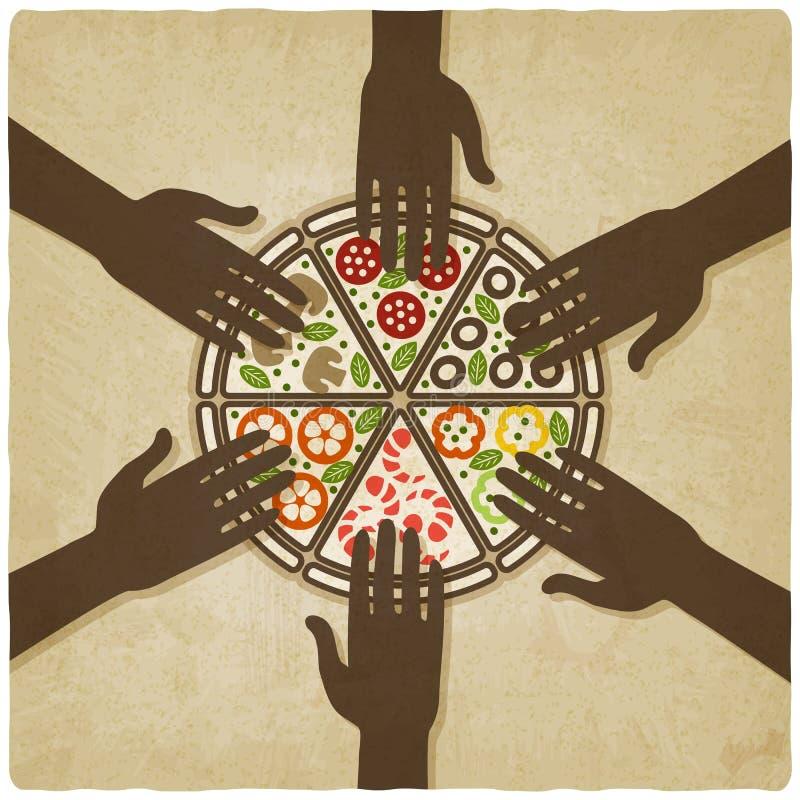 Hände ausgedehnt zum alten Hintergrund der Pizza vektor abbildung