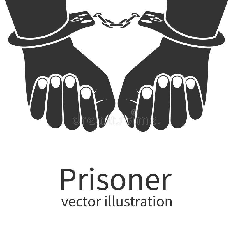 Hände in den Handschellen lokalisiert vektor abbildung