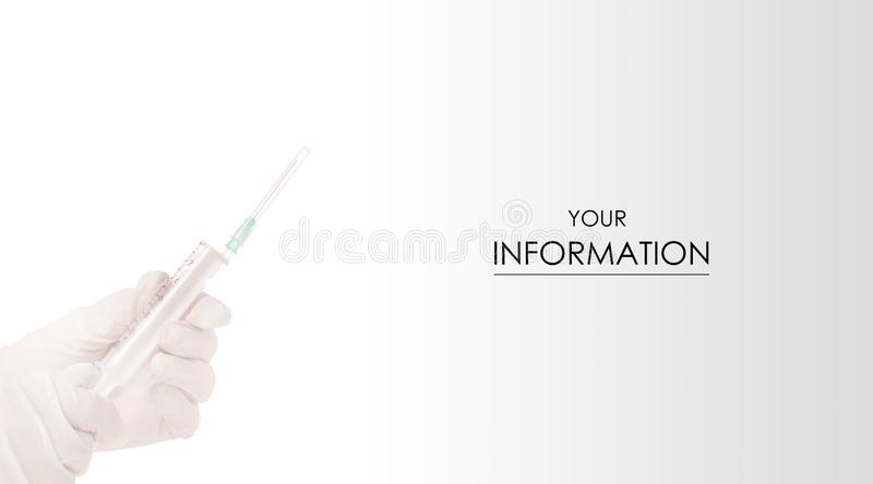 Hände in den medizinischen Handschuhen mit Spritze Cosmetology-Medizinmuster lizenzfreies stockfoto