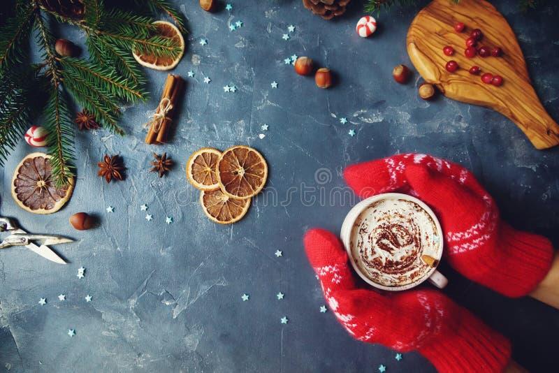 Hände in den warmen Handschuhen, die mit Sahne Schale Kakao oder heiße Schokolade halten Zimt, trockene Orangen und Tannenbaum au lizenzfreie stockfotos