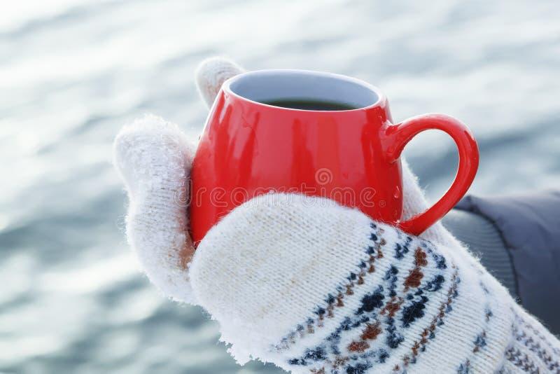 Hände in den woolen Handschuhen halten einen roten Becher mit dem heißem Tee oder Kaffee und stehen auf dem Schnee Konzept der Er lizenzfreies stockfoto
