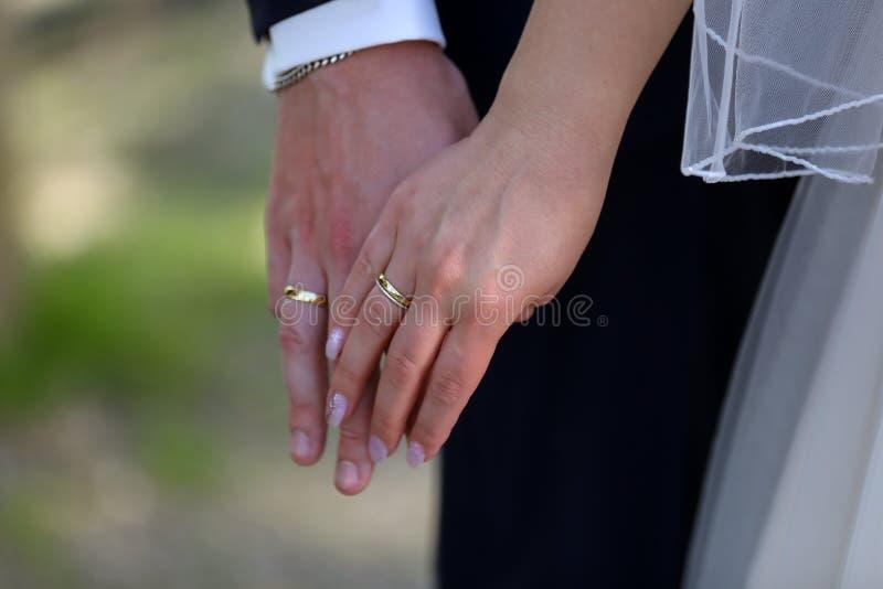 Hände der Braut und des Bräutigams mit Ringen an der Hochzeit stockfoto