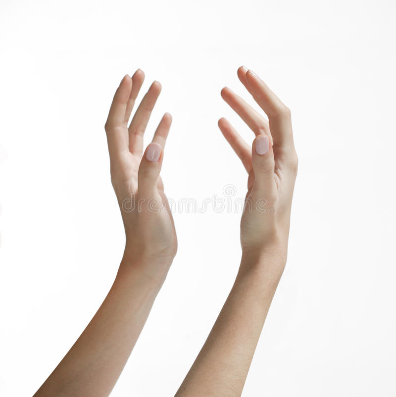 Hände der Frau, die oben erreichen stockfoto