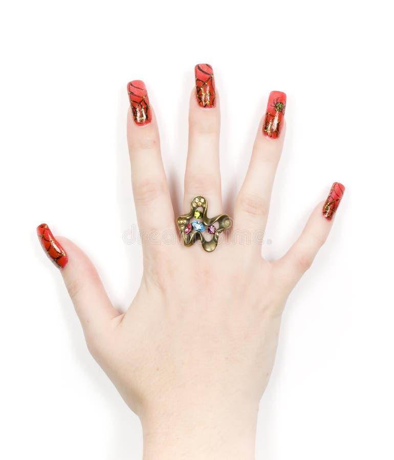 Hände der Frauen mit goldenem Ring lizenzfreie stockfotografie