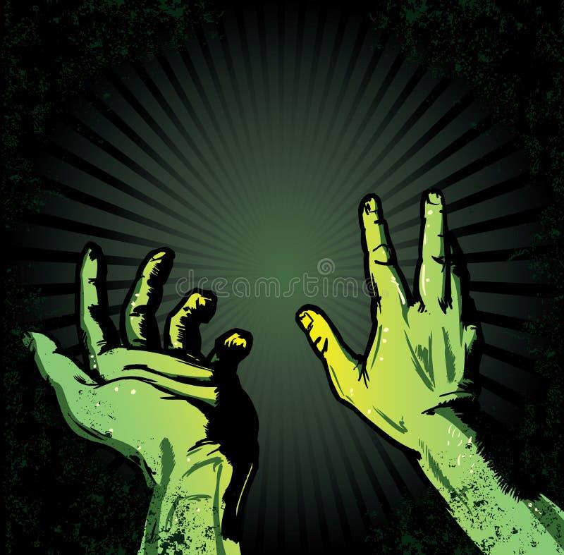 Hände in der Furcht vor der Leuchte vektor abbildung