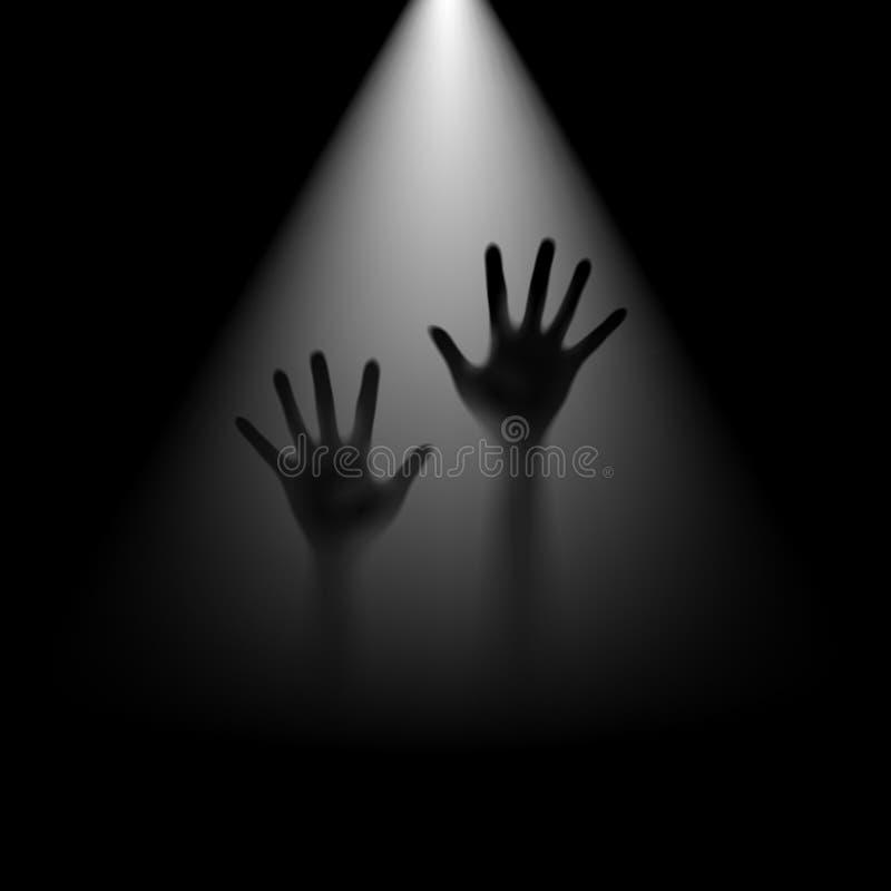 Hände in der Hintergrundbeleuchtung. lizenzfreie abbildung