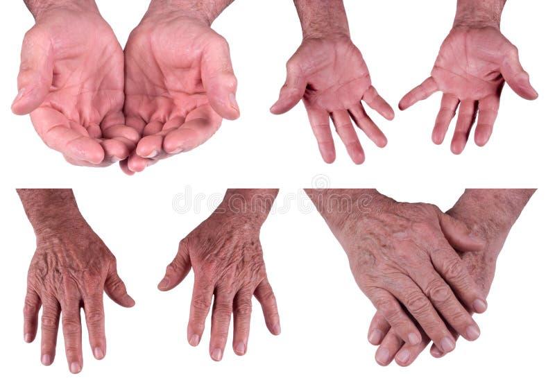 Hände des fälligen älteren Mannes, Mann getrennt auf Weiß lizenzfreie stockfotografie