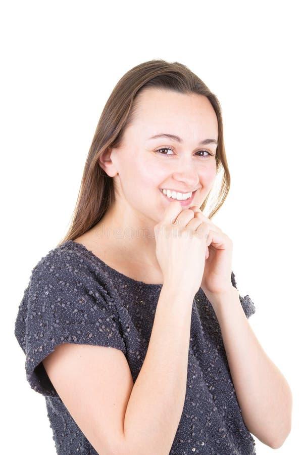 Hände des jungen Mädchens auf der lächelnden denkenden Idee des Kinns schön und glücklich lizenzfreies stockfoto
