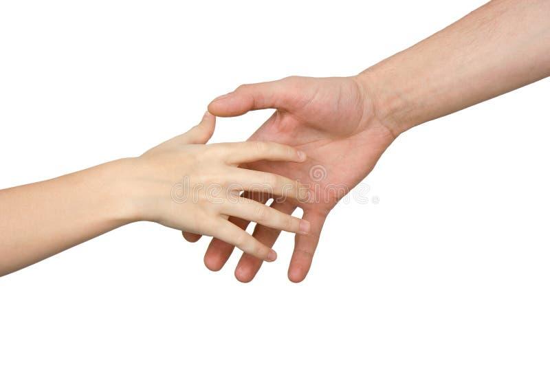 Hände des Kindes und des Mannes lizenzfreie stockfotos