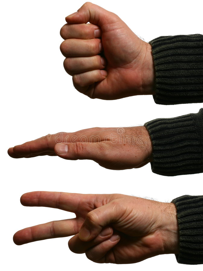 Hände des Mannes, die Felsen, Papier, Scheren tun lizenzfreies stockbild