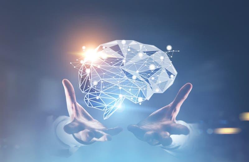 Hände des Mannes s, die ein Gehirnhologramm halten lizenzfreie stockfotografie