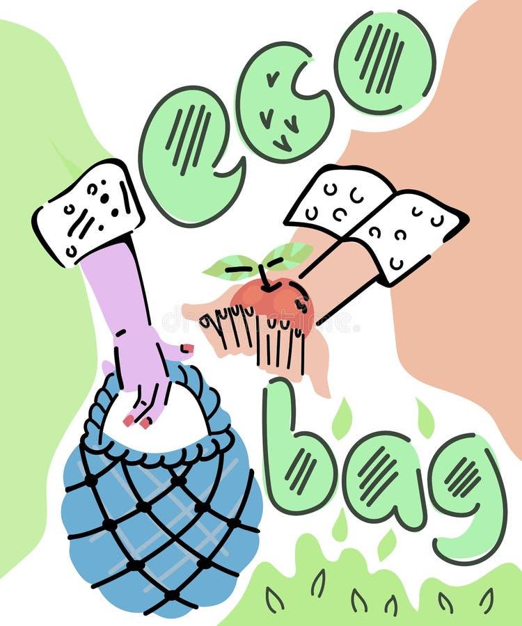 Hände, die Öko-Beutel halten und ökologisch saubere Lebensmittel in sie einführen, Skizzenkartoonillustrierung lizenzfreie abbildung