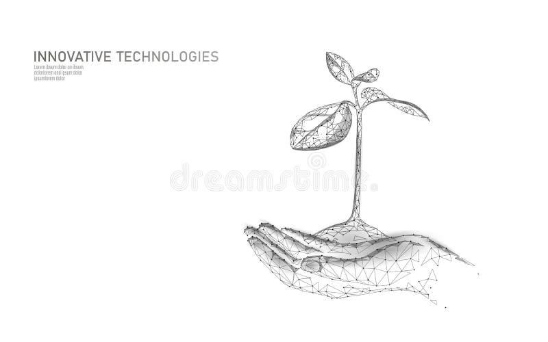 Hände, die ökologischen abstrakten Begriff des Betriebssprösslings halten 3D übertragen Sämlingsbaumblätter Sicherungsplanetennat vektor abbildung