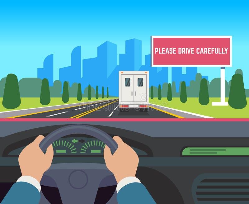 Hände, die Auto fahren Auto innerhalb der Armaturenbrettfahrer-Geschwindigkeitsstraße, die flache Illustration der Straßenverkehr lizenzfreie abbildung
