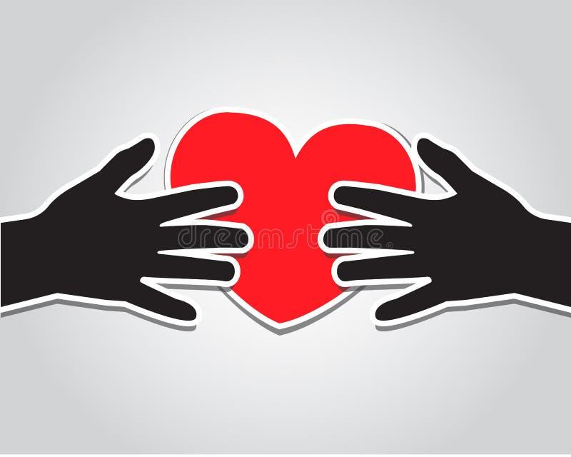 Hände, die das Herz halten vektor abbildung