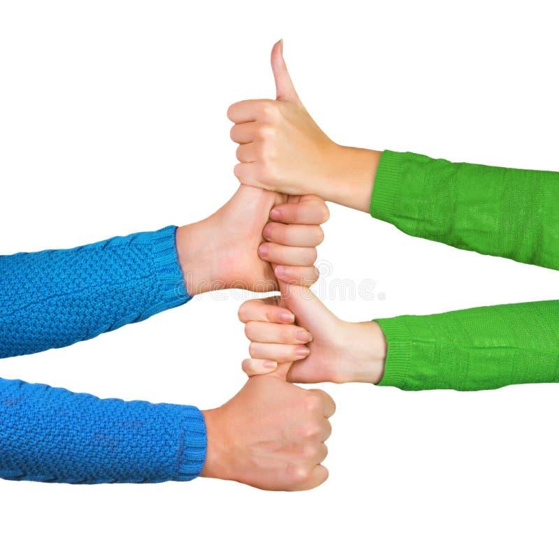 Hände, die Daumen hochhalten lizenzfreie stockfotos