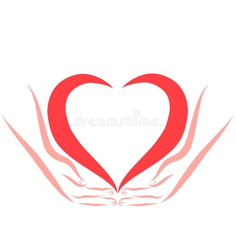 Hände, die ein Herz, eine Liebe, eine Sorgfalt oder eine Gesundheit halten stock abbildung