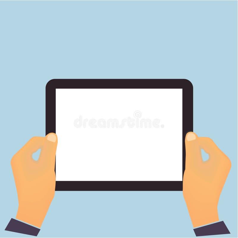 Hände, die ein horisontal flaches De des Tablet-Computers halten vektor abbildung