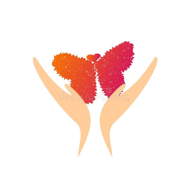 Hände, die ein Schmetterlingsfliegen bilden stock abbildung