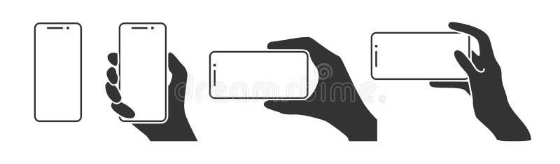 Hände, die ein Telefon in den horizontalen und vertikalen Positionen halten vektor abbildung
