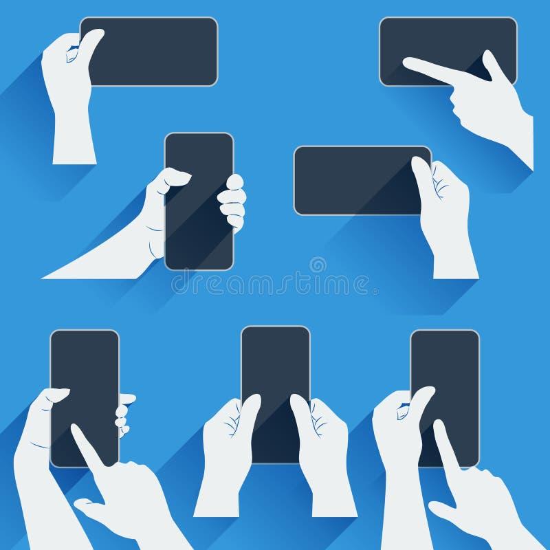 Hände, die ein Telefon oder anderes Gerät halten Flache Schablone mit langen Schatten vektor abbildung