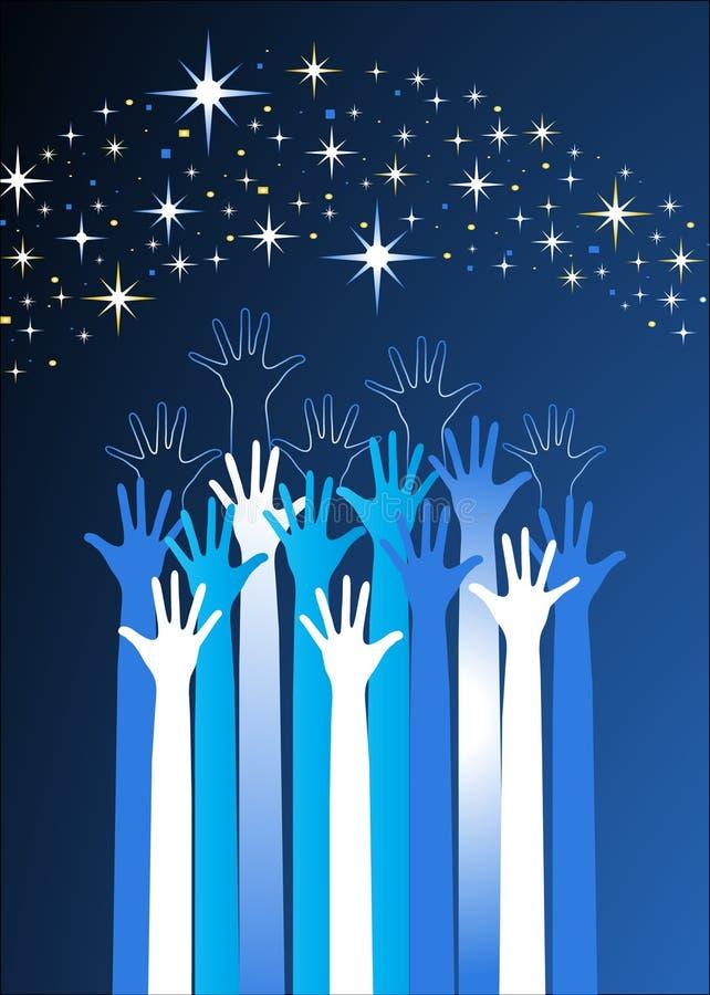 Hände, die für die Sterne erreichen lizenzfreie abbildung