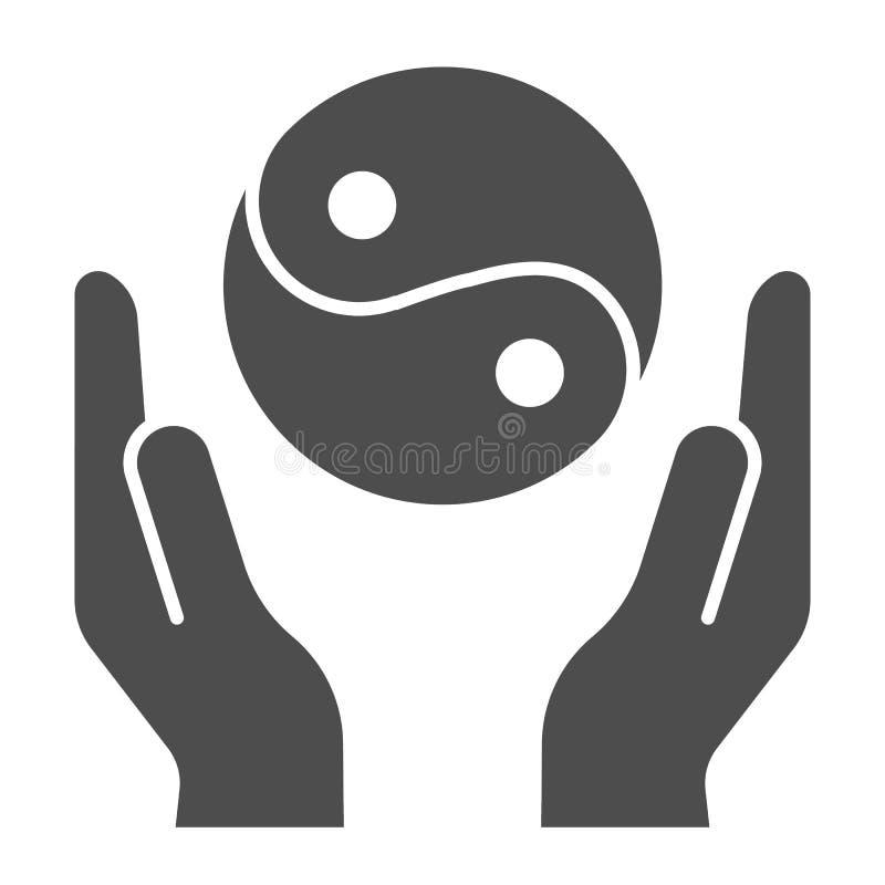 Hände, die feste Ikone yin Yang halten Symbol-Vektorillustration Yin Yang lokalisiert auf Weiß Buddhismus Glyph-Artentwurf lizenzfreie abbildung