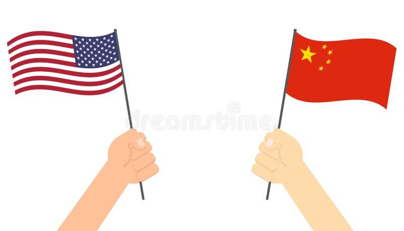 Hände, die Flagge zwischen USA und China vertraulich für Wettbewerb halten lizenzfreie abbildung