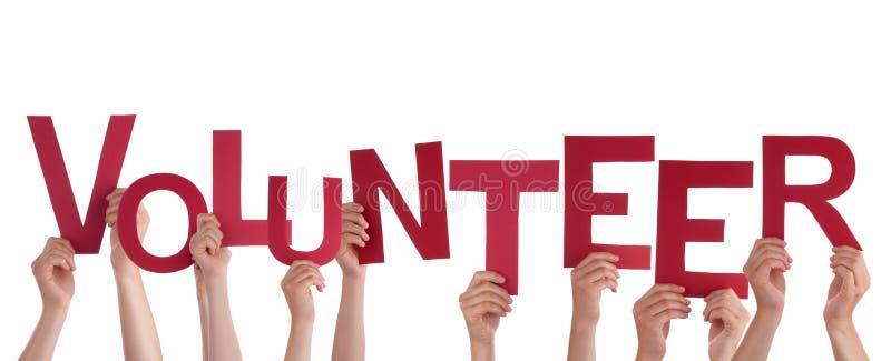 Hände, die Freiwilligen halten lizenzfreie stockbilder