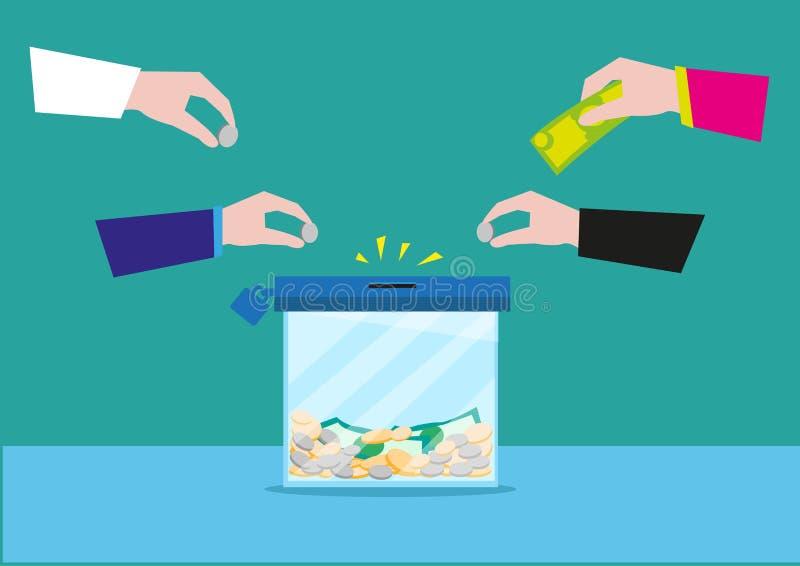 Hände, die Geld auf einen Glasbehälter des kastens oder der ruhigen Bank stecken Spende oder Bankspareinlagenkonzept Editable Cli lizenzfreie abbildung