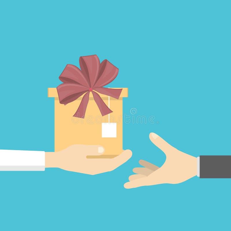 Hände, die Geschenk geben lizenzfreie abbildung