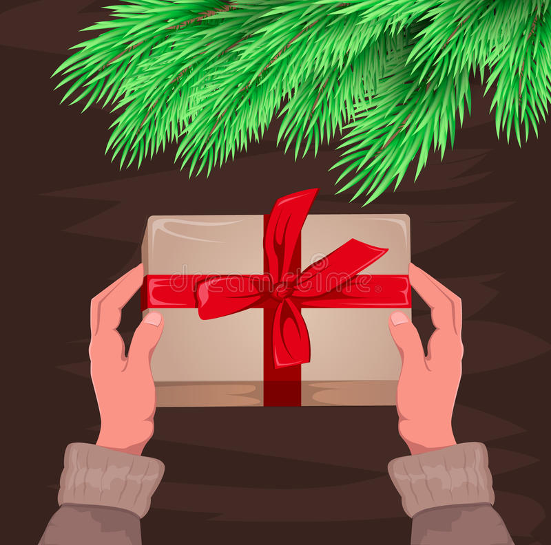 Hände, die Geschenk halten Geschenkbox für Weihnachten und neues Jahr stock abbildung