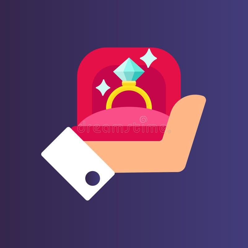 Hände, die Geschenkbox mit Goldehering halten Antrag für Heirat, Verkuppeln und Betrothal flache Vektorkarikatur vektor abbildung