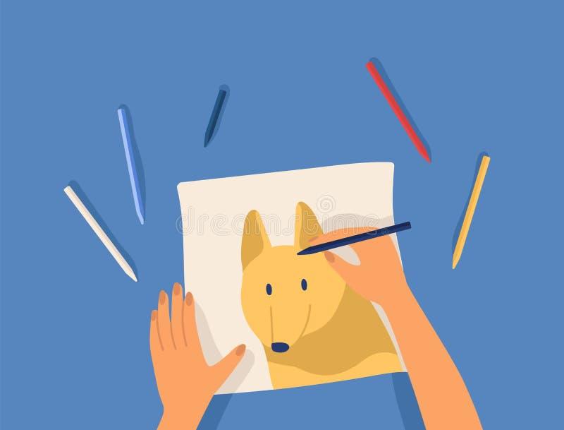 Hände, die Grafik - netten lustigen Hund der Zeichnung mit bunten Bleistiften herstellen Kreative Werkstattlektion oder -tutorium lizenzfreie abbildung