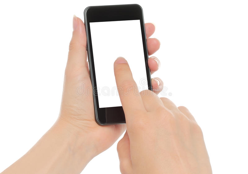 Hände, die intelligentes Telefon halten stockfotos