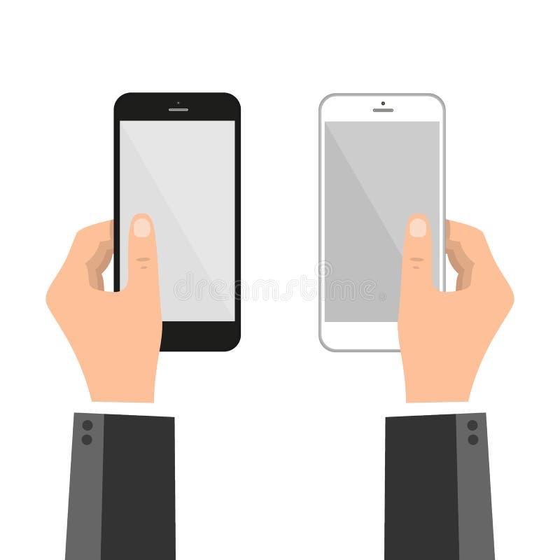 Hände, die intelligentes Telefon und Touch Screen - Vektorschablone falten lizenzfreie abbildung