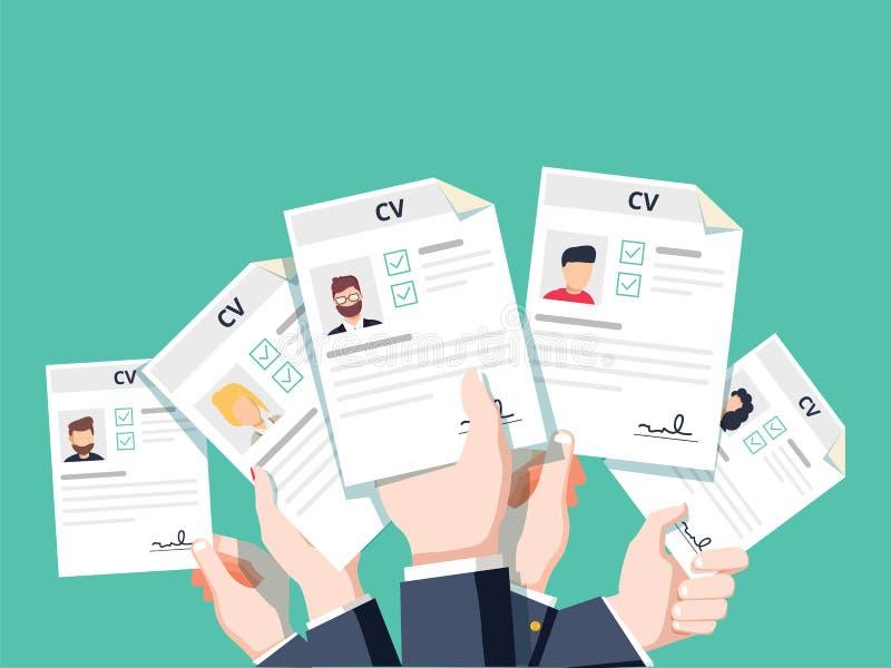 Hände, die Lebenslauf-Zusammenfassungsdokumente verwahren Bewerben um Job lizenzfreie abbildung