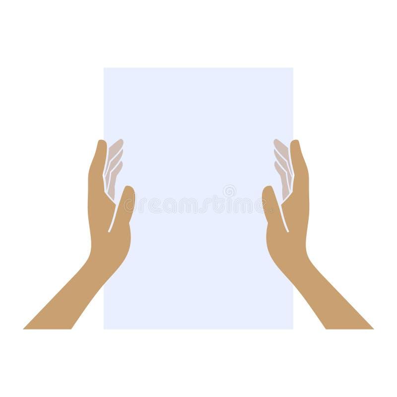 Hände, die leeres Papier auf weißem Hintergrund halten lizenzfreie abbildung