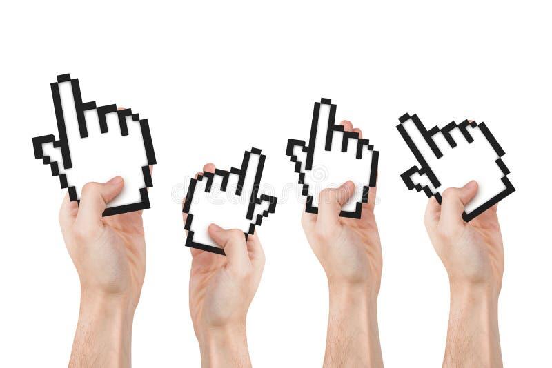 Hände, die Mauscursor halten lizenzfreies stockbild