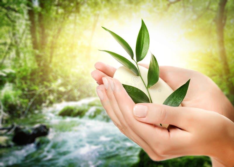 Hände, die organische Seife anhalten lizenzfreies stockfoto