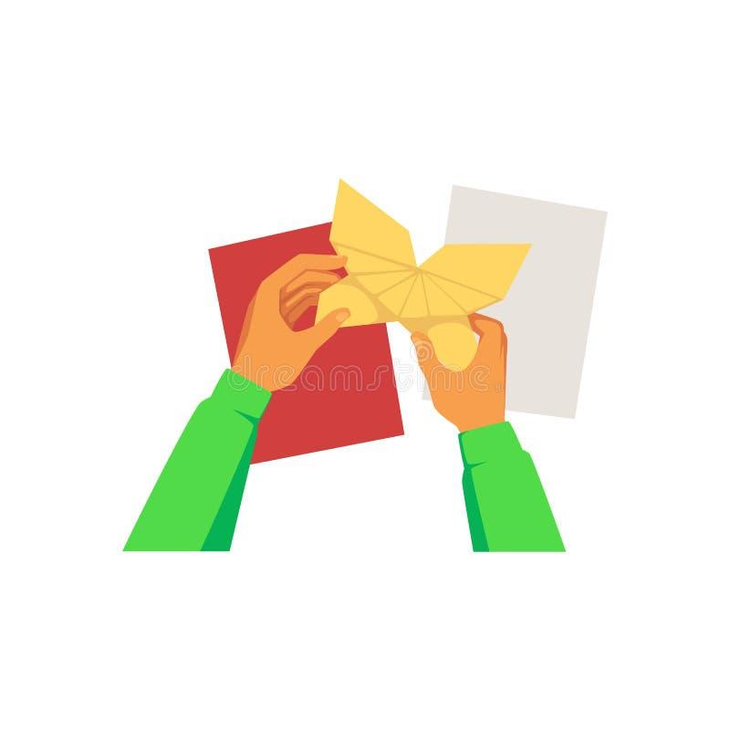 Hände, die Papierblätter falten und Origamischmetterlings-Karikaturart halten vektor abbildung