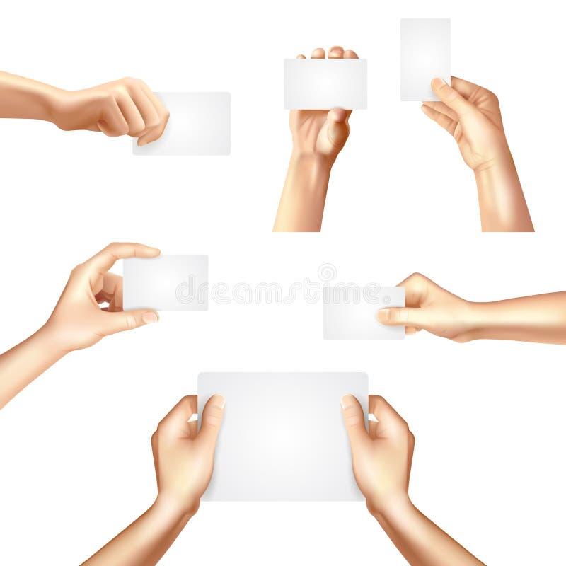 Hände, die Plakat der leeren Karten halten lizenzfreie abbildung