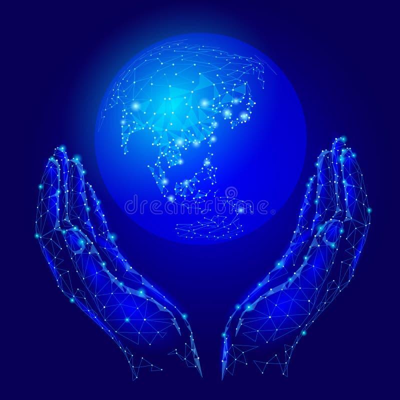 Hände, die Planet Erdkugel halten Einsparungsumwelt-Geschäftskonzept Netzdaten über der Welt Asien-Kontinent - Japan, China, lizenzfreie abbildung