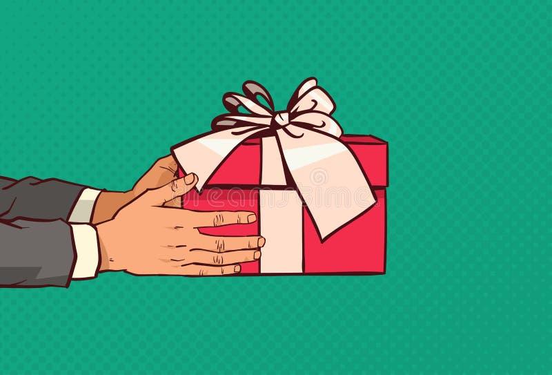 Hände, die rote Geschenkbox mit dem Bogen vorhanden für mit Feiertags-Ereignis über komischem Knall Art Background halten stock abbildung