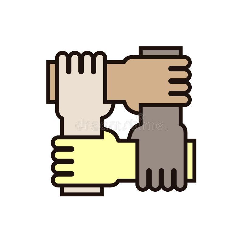 4 Hände, die sich halten Vector Ikone für Konzepte der Rassengleichheit, der Teamwork, der Gemeinschaft und der Nächstenliebe lizenzfreie abbildung