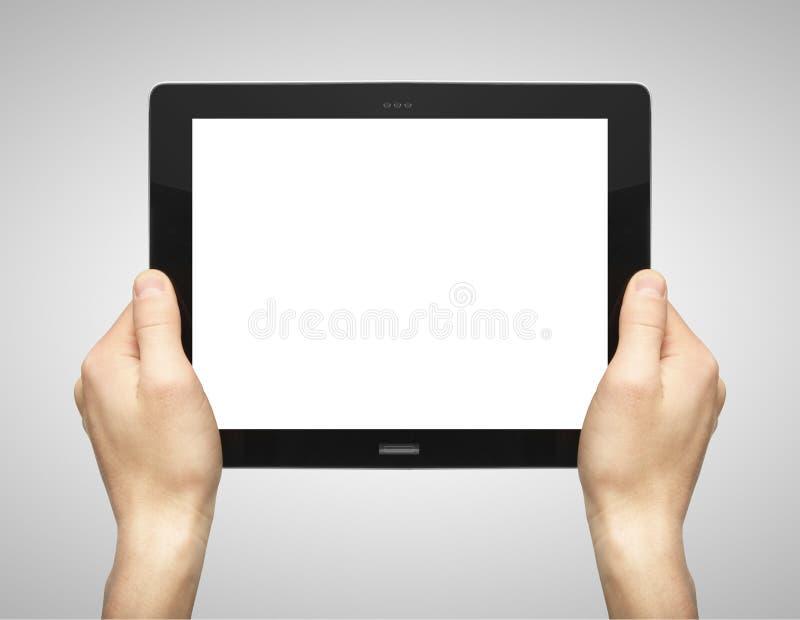 Hände, die Tablette anhalten lizenzfreies stockfoto