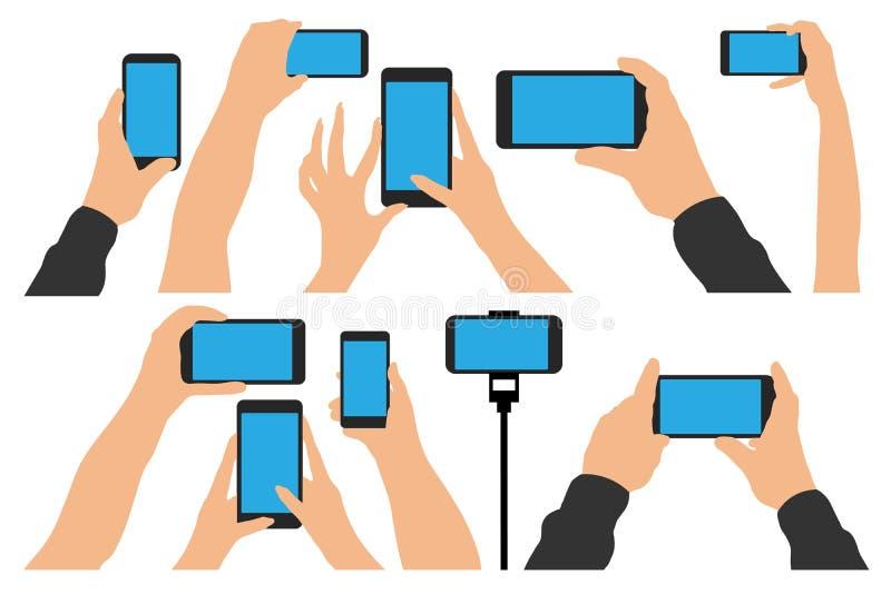 Hände, die Telefon, Smartphone halten Lokalisierte gesetzte Vektorillustration lizenzfreie abbildung
